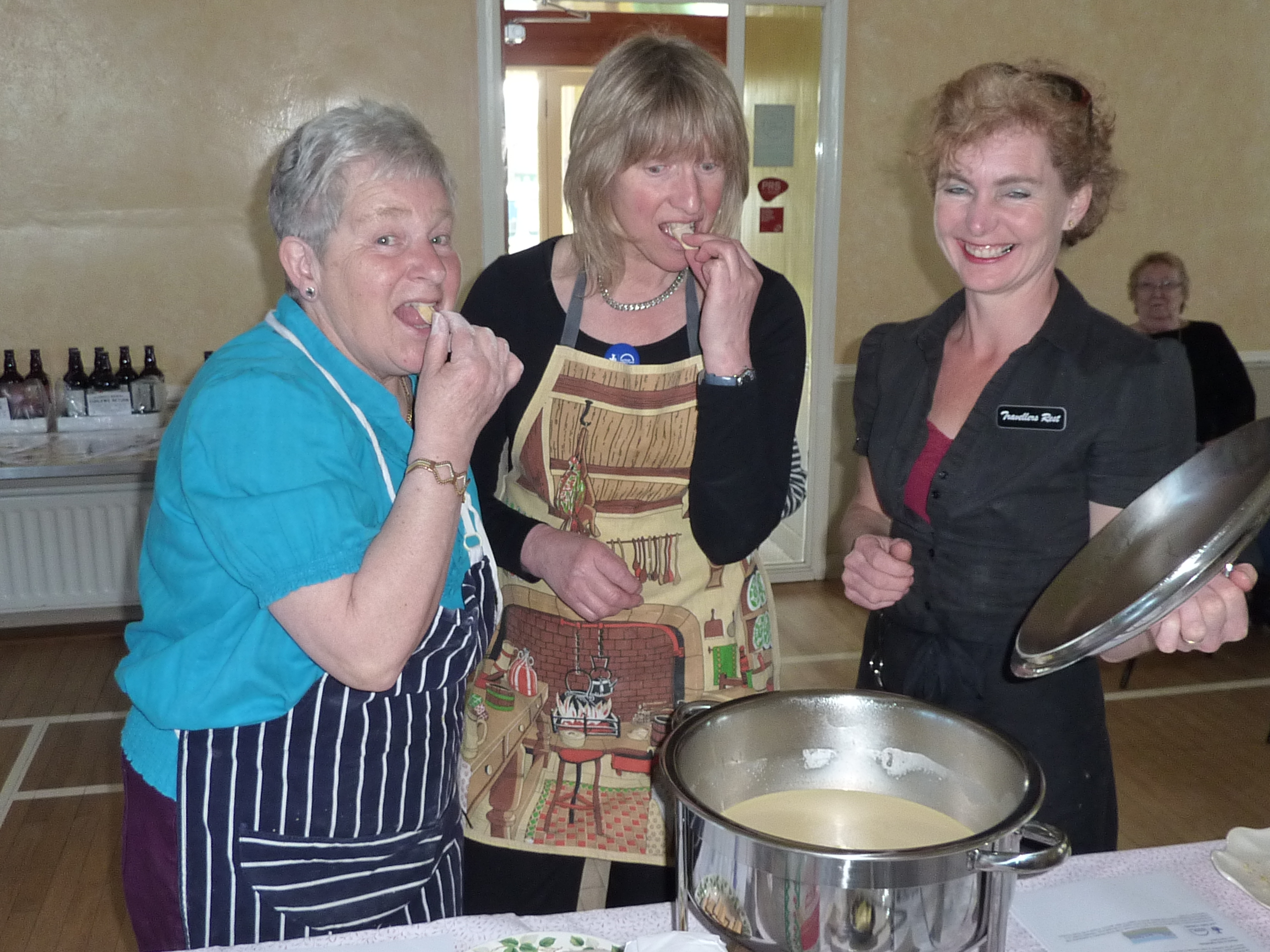 Delicious! Pat Wilson, Pam Forbes sample Lemon Posset with Nelleke Astbury of the Travellers Rest